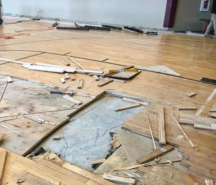 Gym Floor Is Severely Damaged in Oklahoma City Before