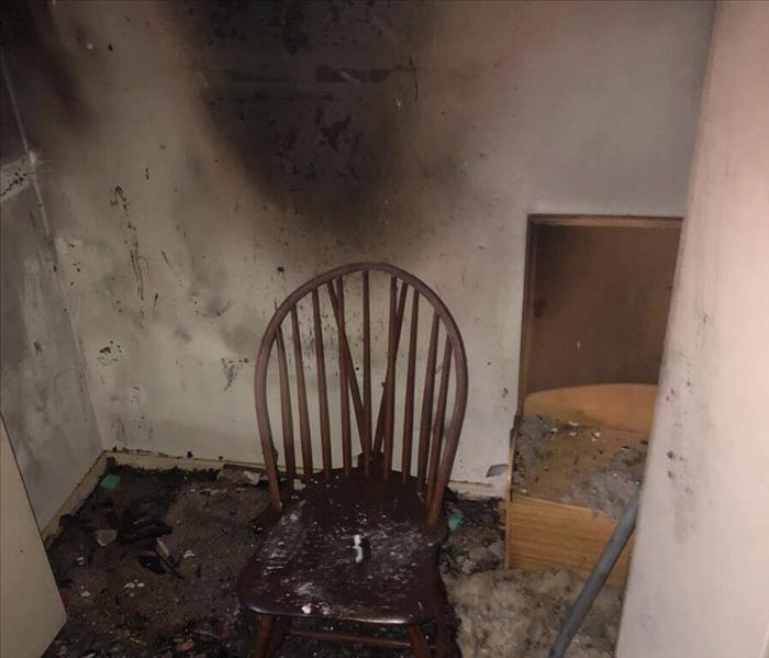 Burnt chair after fire