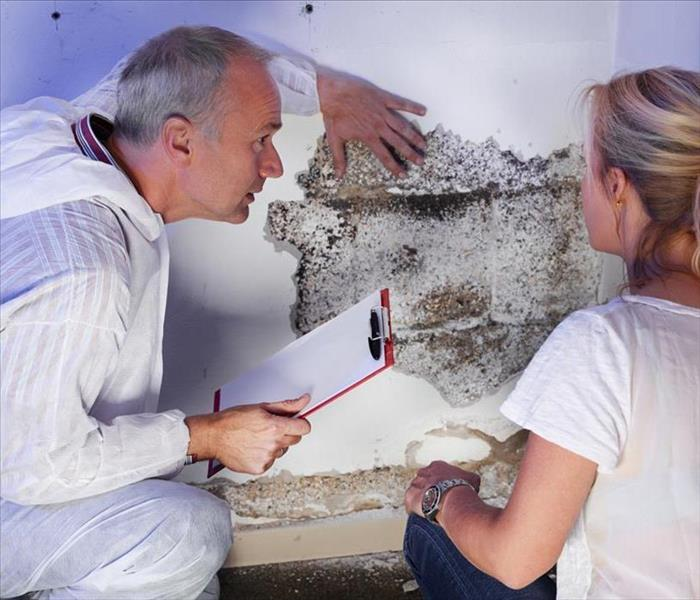 a mold hygienist  explaning to a blonde lady what to do after discovering mold growth on wall